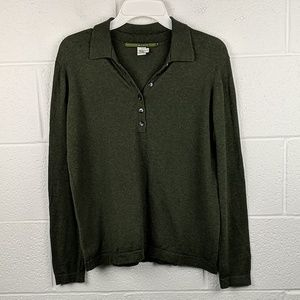 Peruvian Connection Green Henley Sweater
